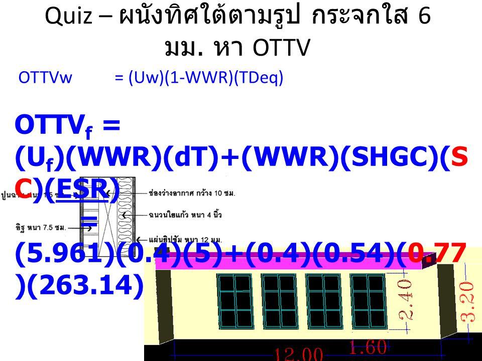 Quiz – ผนังทิศใต้ตามรูป กระจกใส 6 มม. หา OTTV