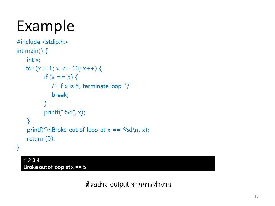 Example ตัวอย่าง output จากการทำงาน