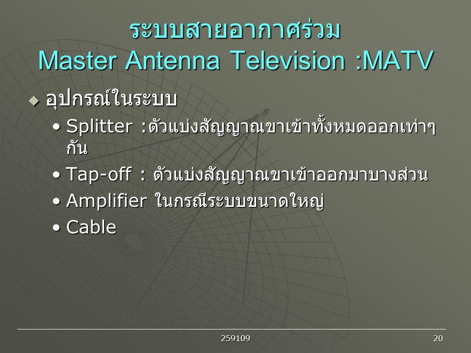 ระบบสายอากาศร่วม Master Antenna Television :MATV