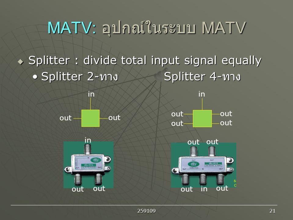 MATV: อุปกณ์ในระบบ MATV
