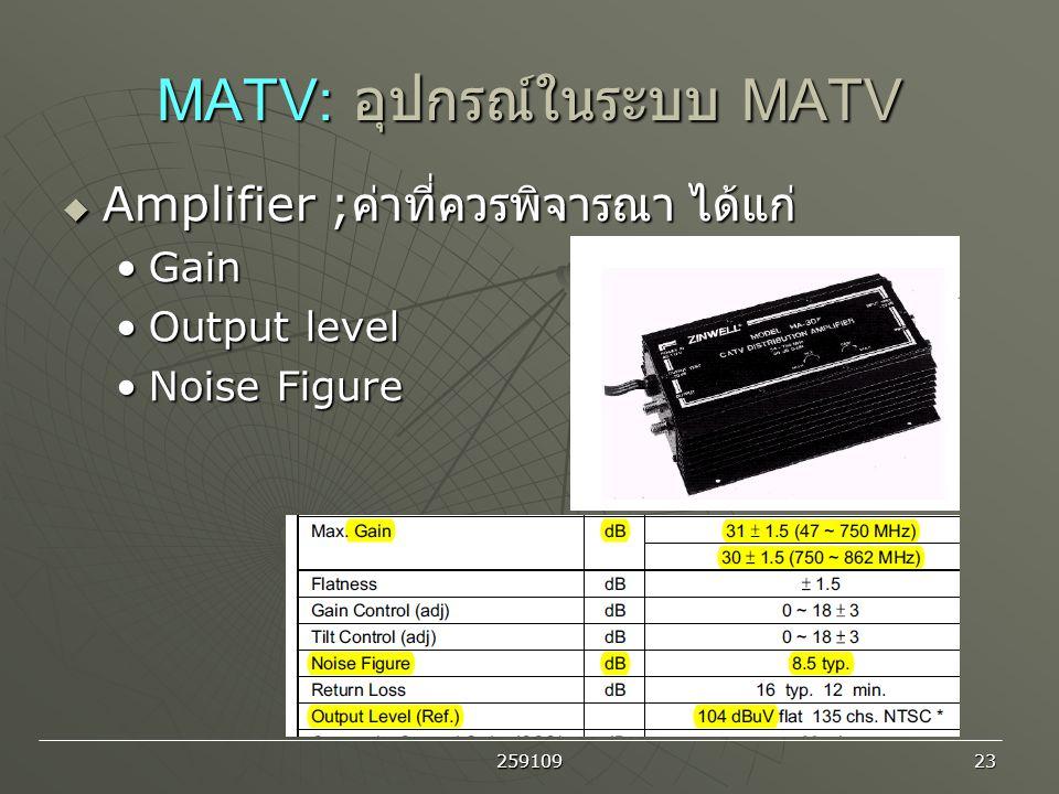 MATV: อุปกรณ์ในระบบ MATV