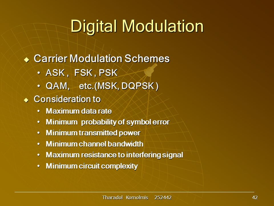 Digital Modulation Carrier Modulation Schemes ASK , FSK , PSK