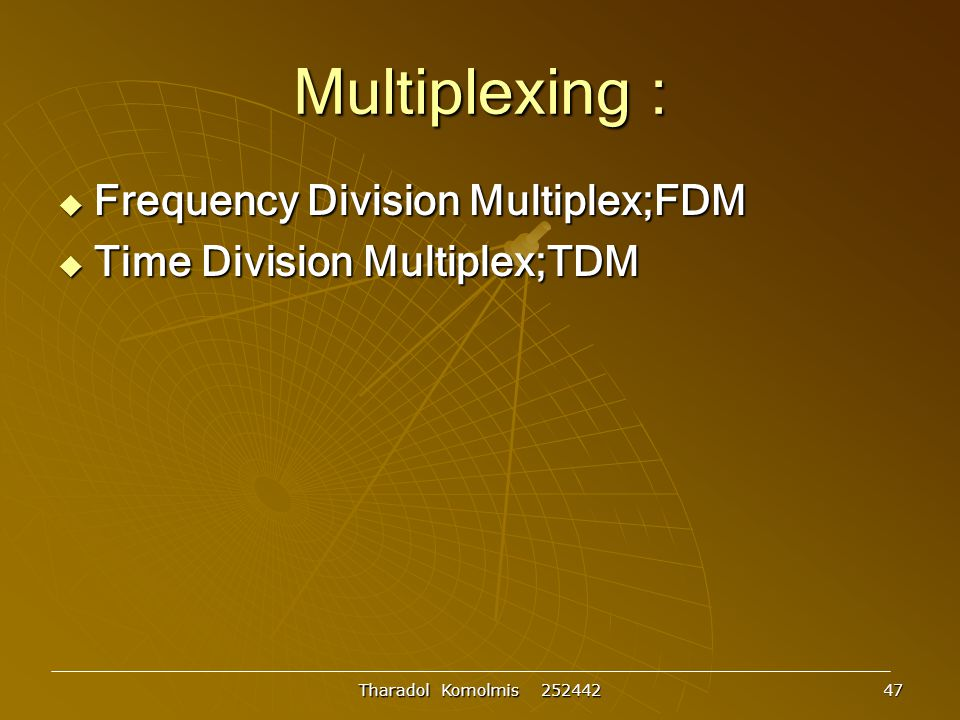 Multiplexing : Frequency Division Multiplex;FDM