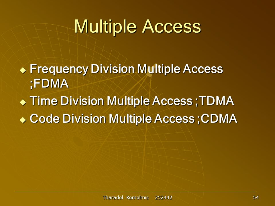 Multiple Access Frequency Division Multiple Access ;FDMA