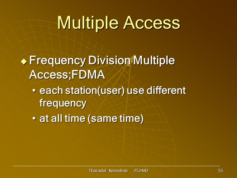 Multiple Access Frequency Division Multiple Access;FDMA