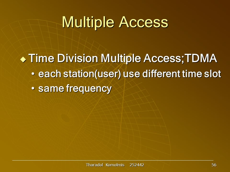 Multiple Access Time Division Multiple Access;TDMA