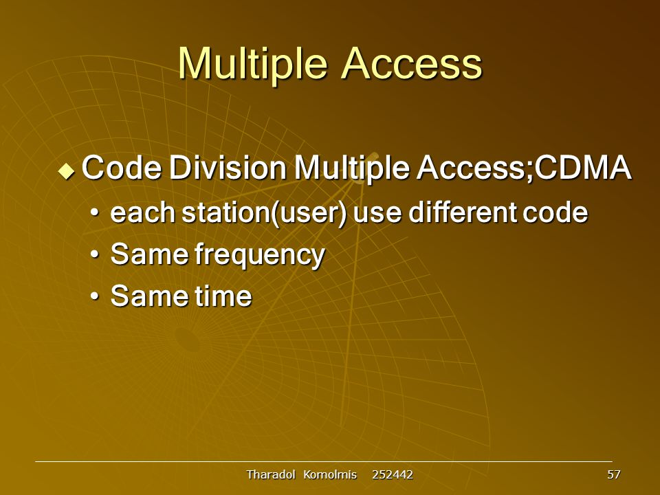 Multiple Access Code Division Multiple Access;CDMA