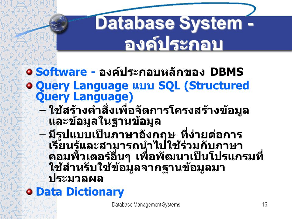 Database System - องค์ประกอบ