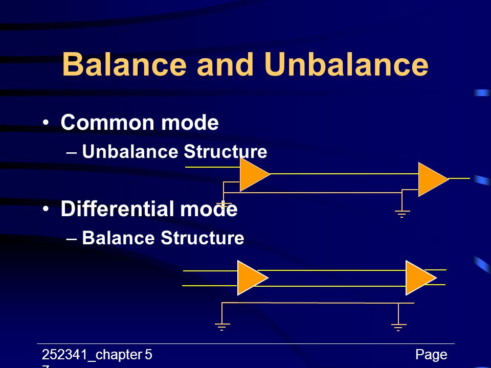 Balance and Unbalance Common mode Differential mode