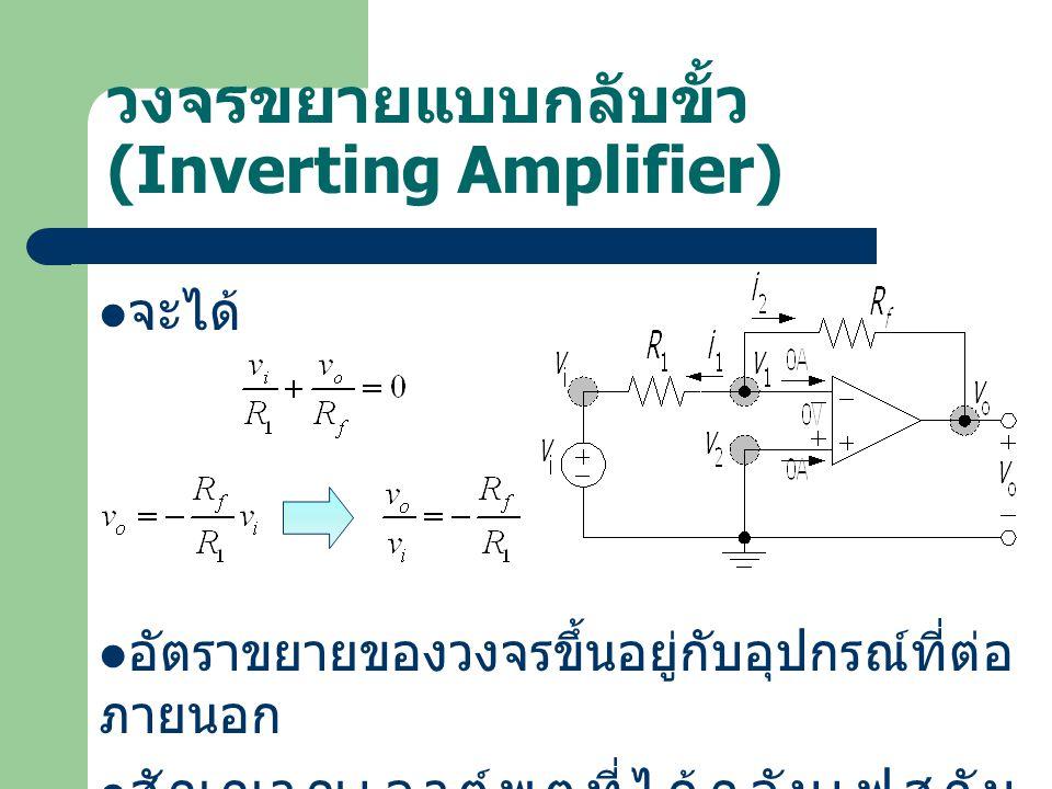 วงจรขยายแบบกลับขั้ว (Inverting Amplifier)