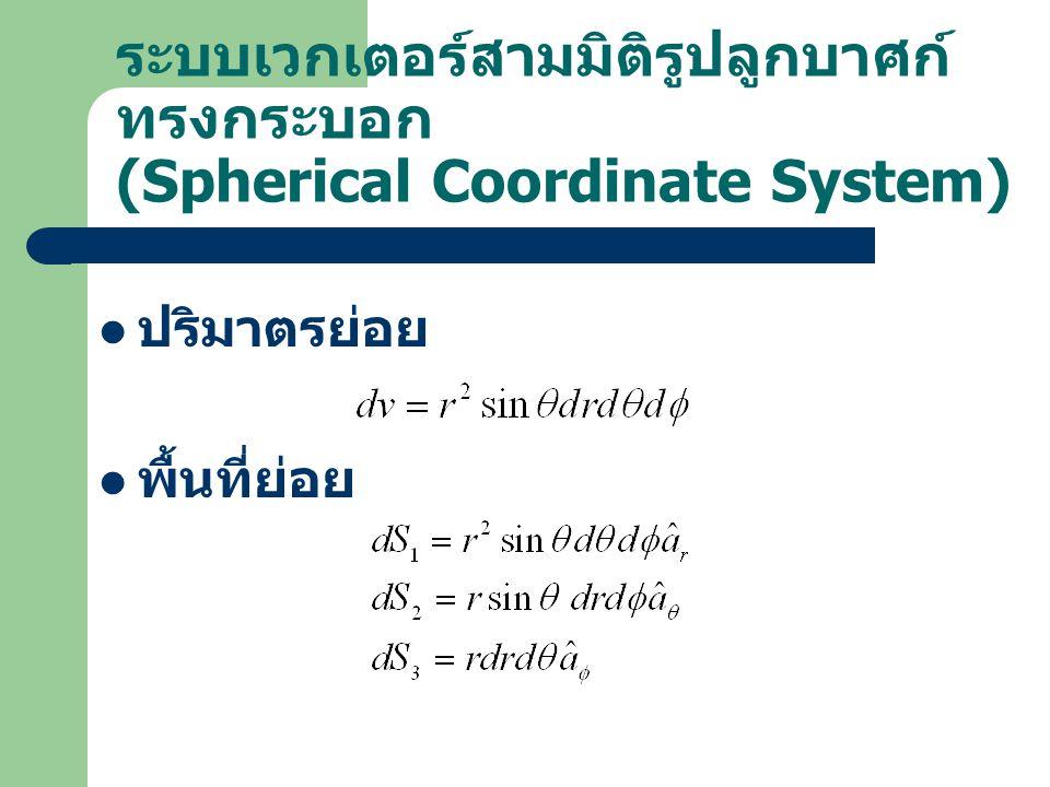 ระบบเวกเตอร์สามมิติรูปลูกบาศก์ทรงกระบอก (Spherical Coordinate System)