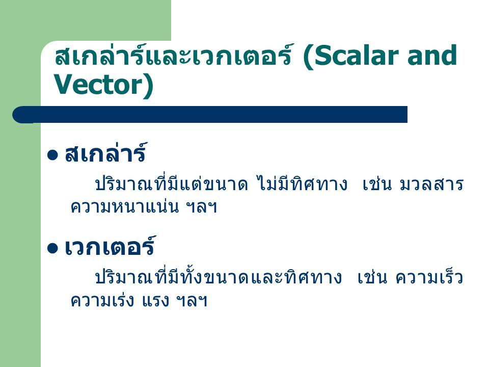สเกล่าร์และเวกเตอร์ (Scalar and Vector)