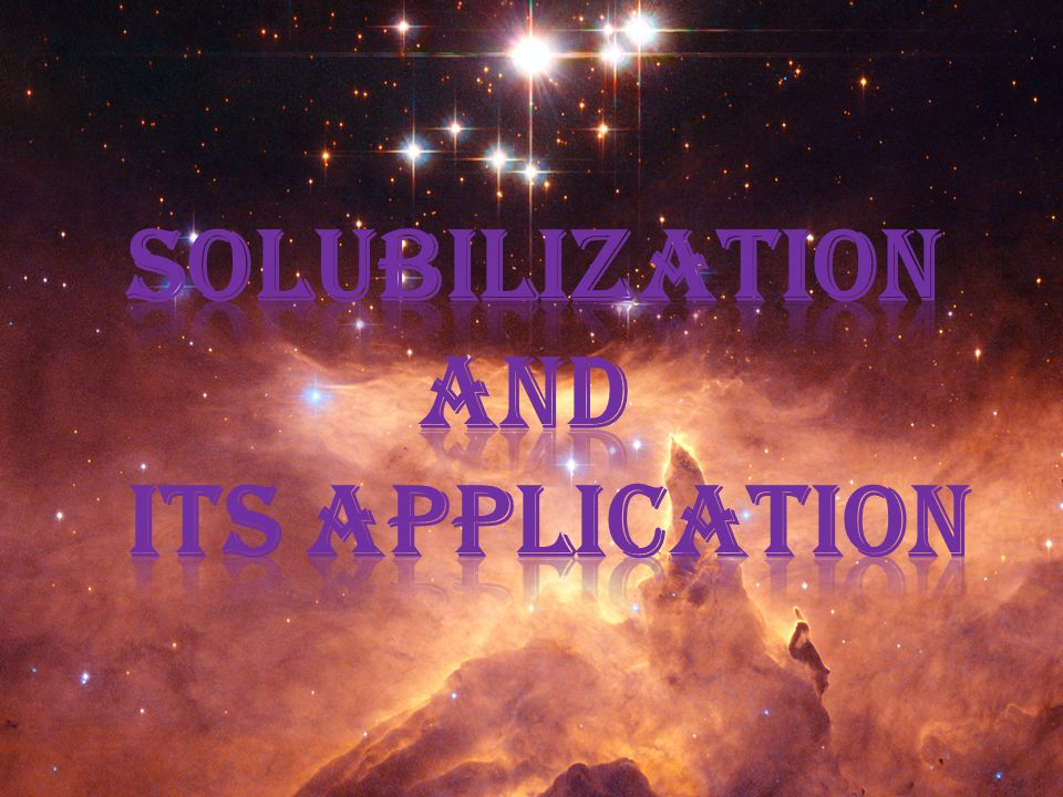 Solubilization and its application