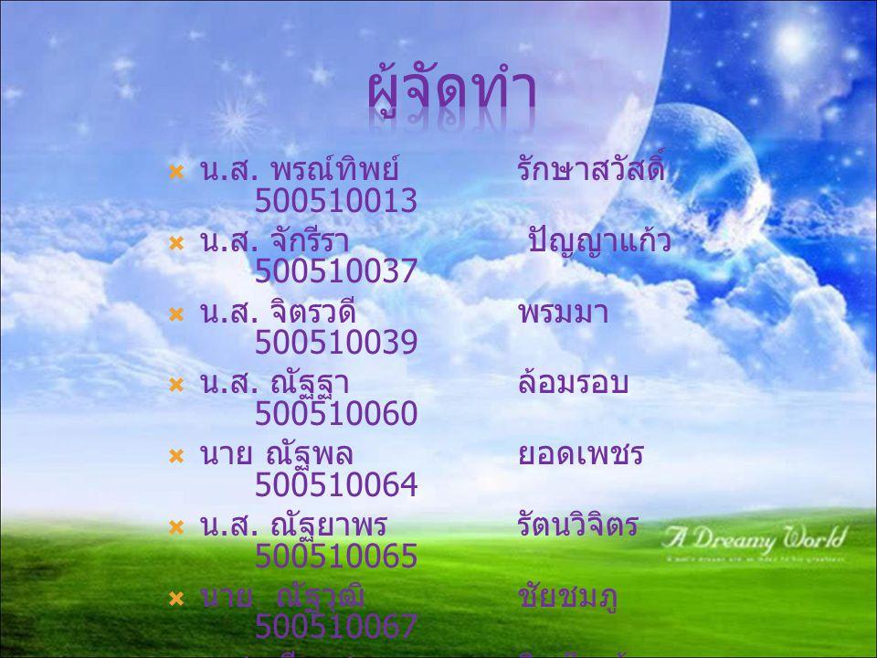 ผู้จัดทำ น.ส. พรณ์ทิพย์ รักษาสวัสดิ์ 500510013
