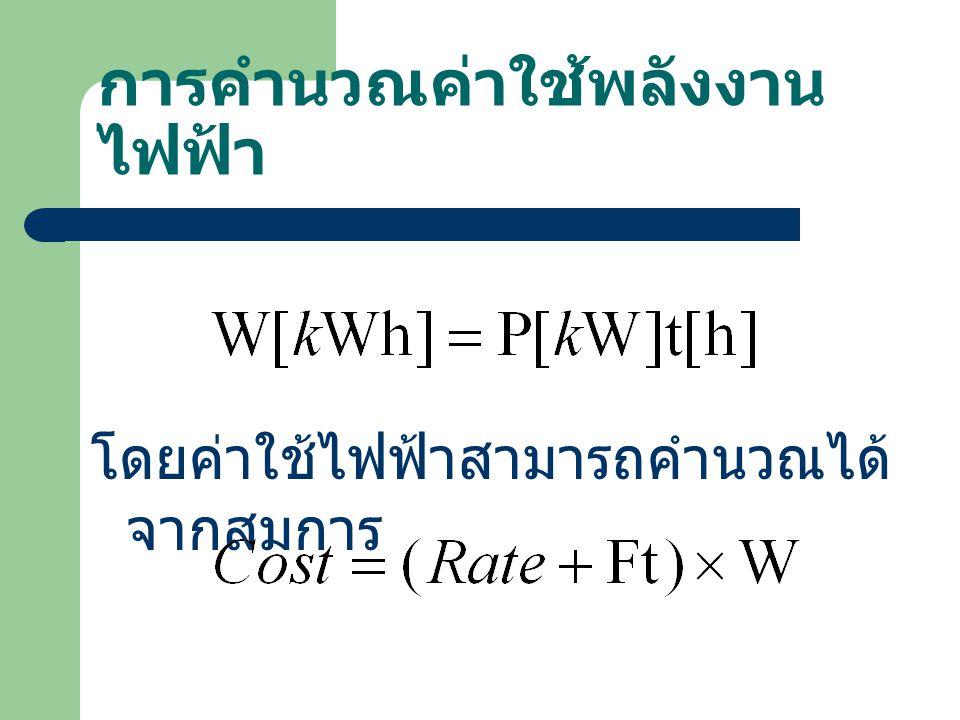 การคำนวณค่าใช้พลังงานไฟฟ้า