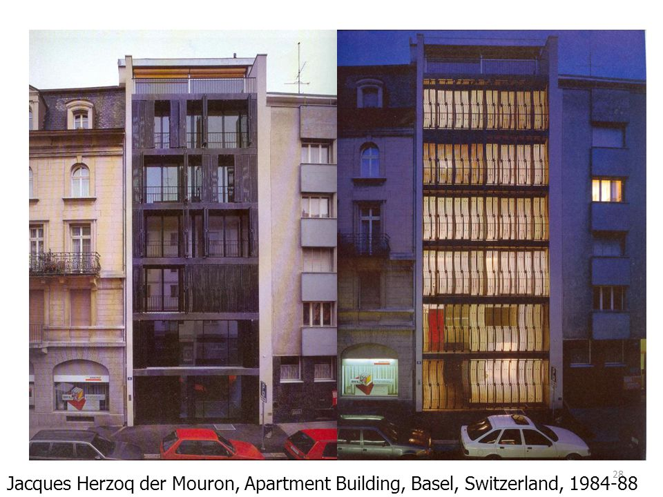 Jacques Herzoq der Mouron, Apartment Building, Basel, Switzerland, 1984-88
