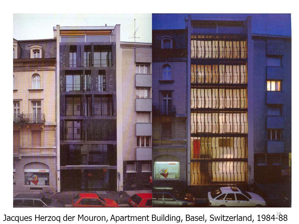 Jacques Herzoq der Mouron, Apartment Building, Basel, Switzerland, 1984-88