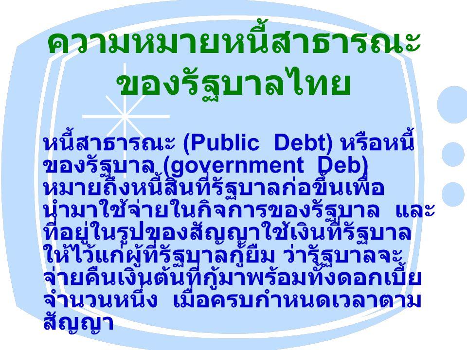 ความหมายหนี้สาธารณะของรัฐบาลไทย