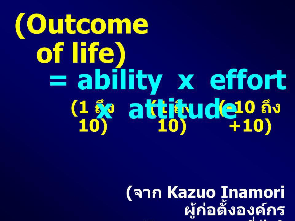= ability x effort x attitude