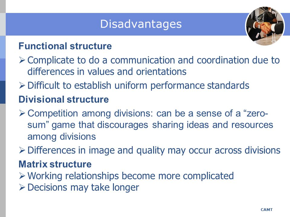 Disadvantages Functional structure