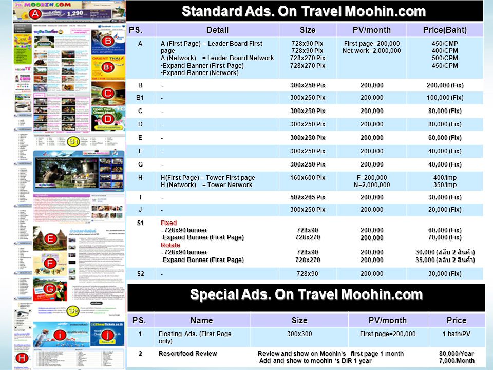 Standard Ads. On Travel Moohin.com Special Ads. On Travel Moohin.com