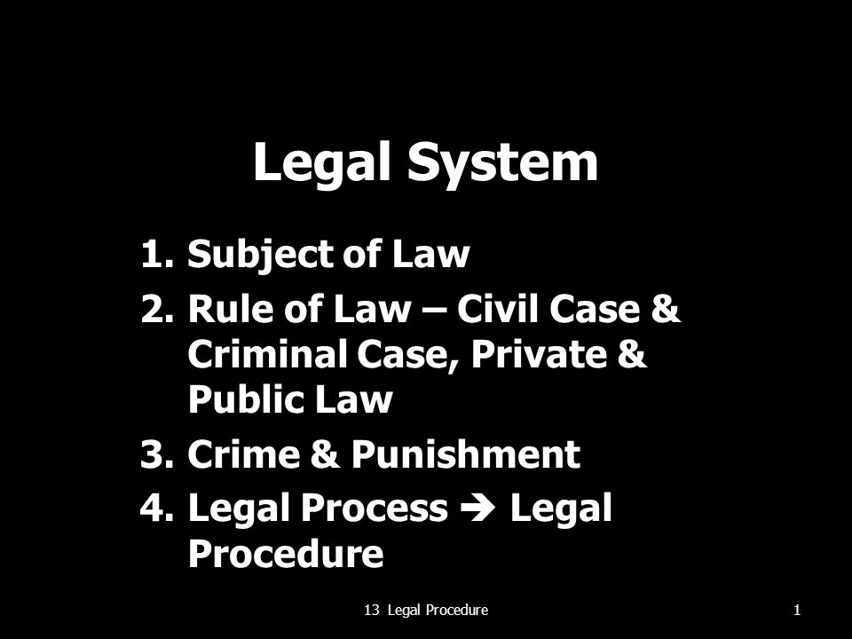 Legal System Subject of Law
