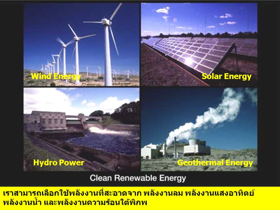 Wind Energy Solar Energy. Hydro Power. Geothermal Energy.