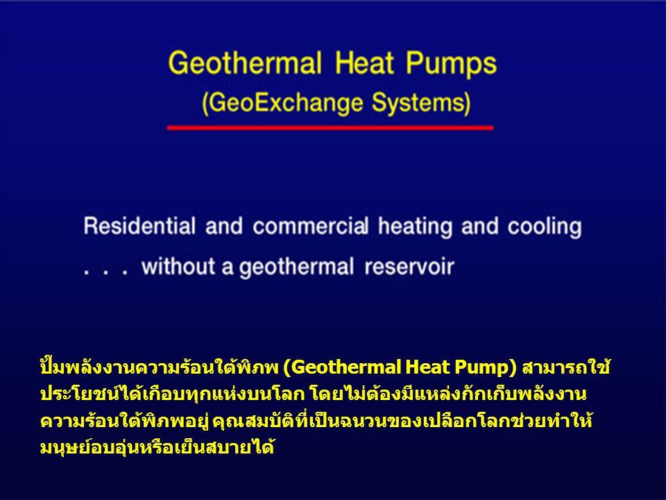 ปั๊มพลังงานความร้อนใต้พิภพ (Geothermal Heat Pump) สามารถใช้ประโยชน์ได้เกือบทุกแห่งบนโลก โดยไม่ต้องมีแหล่งกักเก็บพลังงานความร้อนใต้พิภพอยู่ คุณสมบัติที่เป็นฉนวนของเปลือกโลกช่วยทำให้มนุษย์อบอุ่นหรือเย็นสบายได้