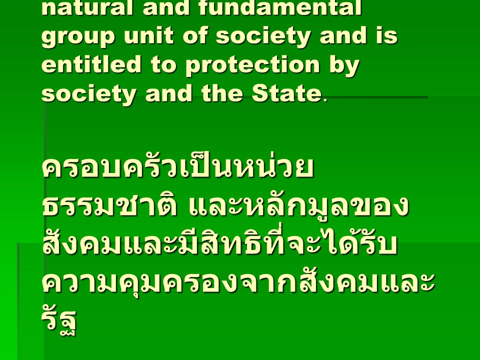 Article 16 The family is the natural and fundamental group unit of society and is entitled to protection by society and the State.