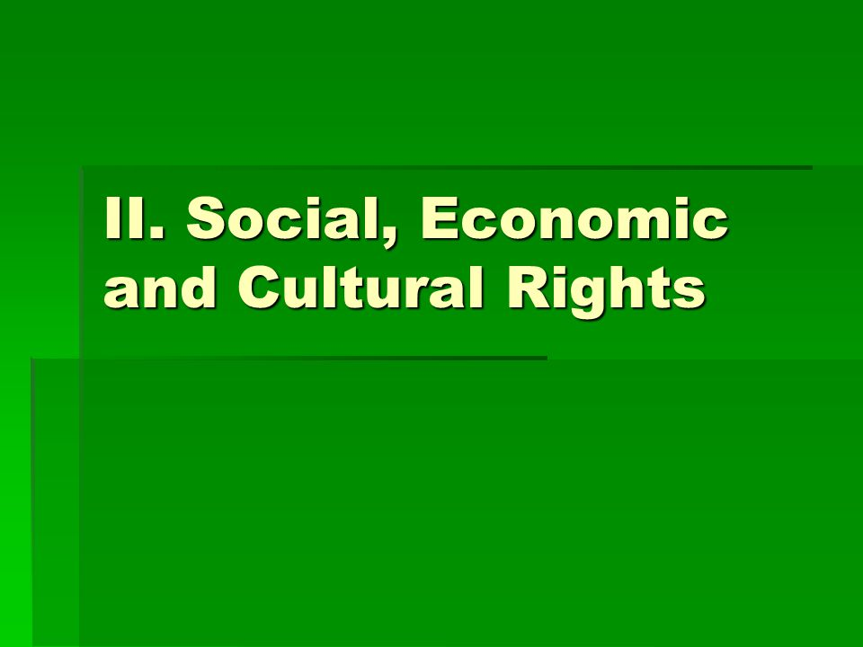 II. Social, Economic and Cultural Rights