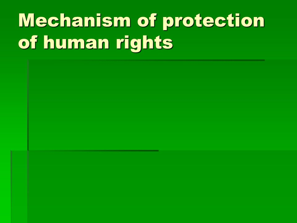 Mechanism of protection of human rights