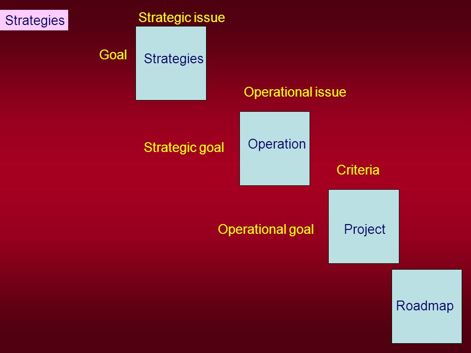 Strategies Strategic issue. Goal. Strategies. Operational issue. Operation. Strategic goal. Criteria.