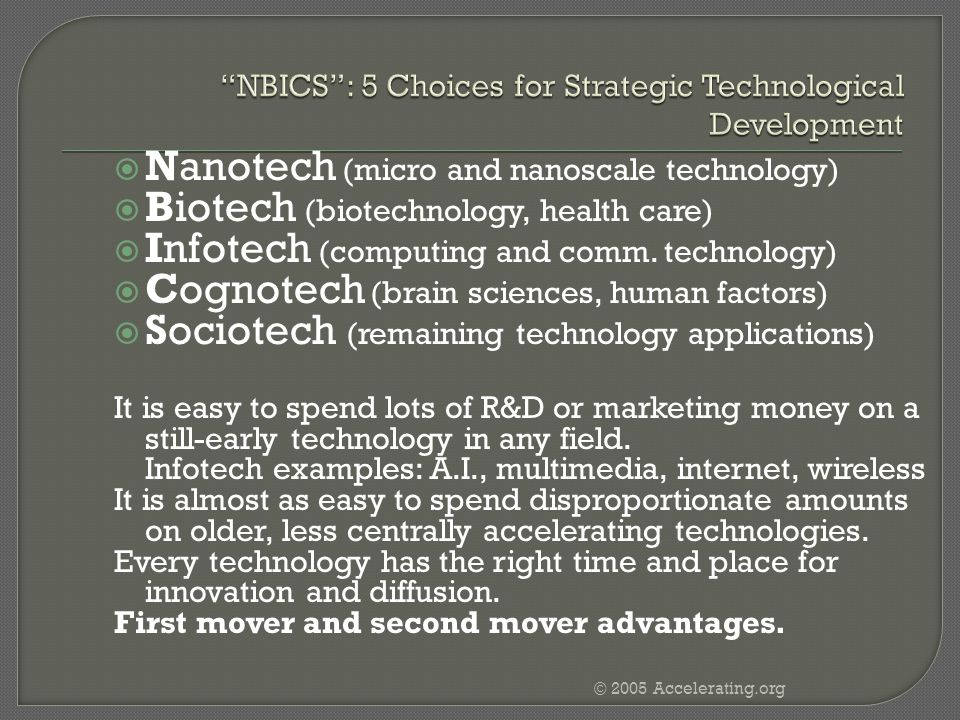NBICS : 5 Choices for Strategic Technological Development