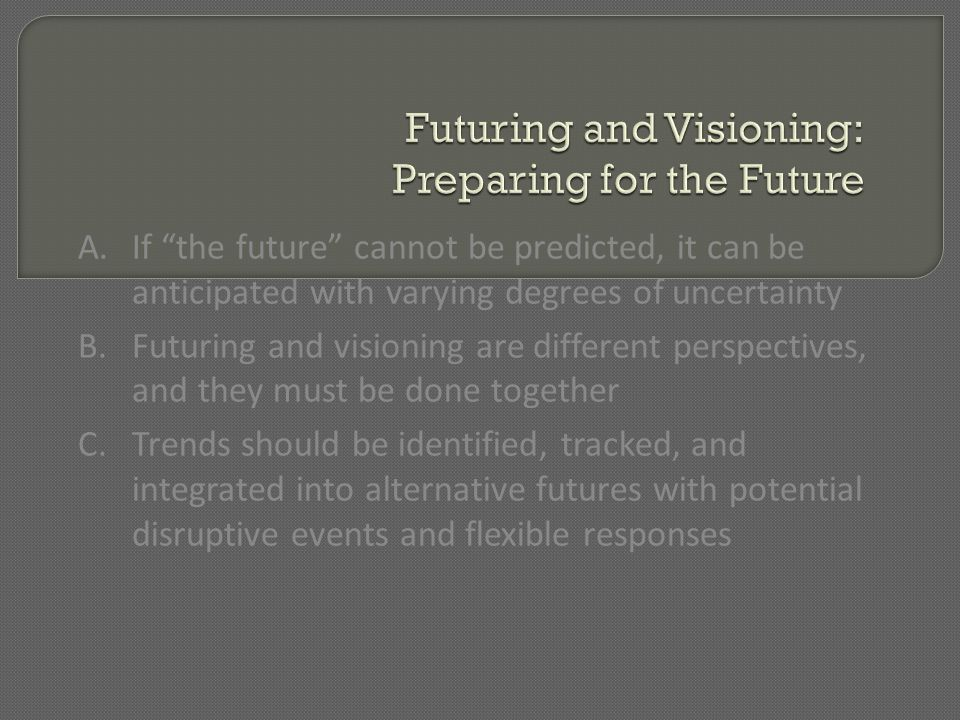 Futuring and Visioning: Preparing for the Future