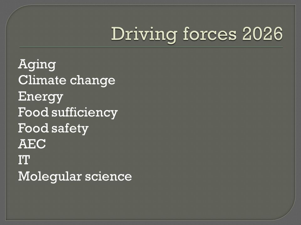 Driving forces 2026 Aging Climate change Energy Food sufficiency Food safety AEC IT Molegular science