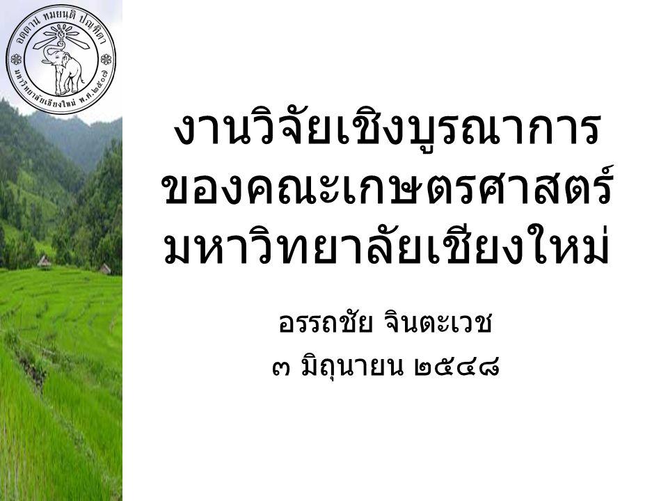 งานวิจัยเชิงบูรณาการของคณะเกษตรศาสตร์มหาวิทยาลัยเชียงใหม่