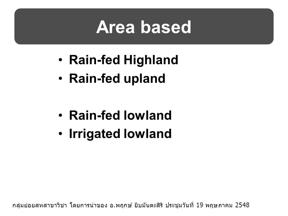 Area based Rain-fed Highland Rain-fed upland Rain-fed lowland