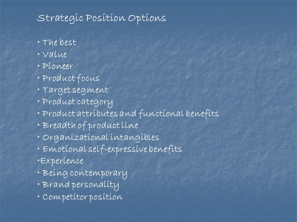Strategic Position Options