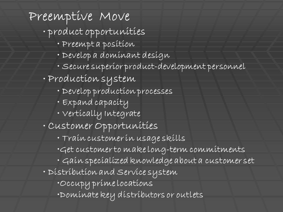 Preemptive Move product opportunities Preempt a position