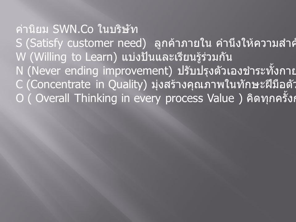 ค่านิยม SWN.Co ในบริษัท