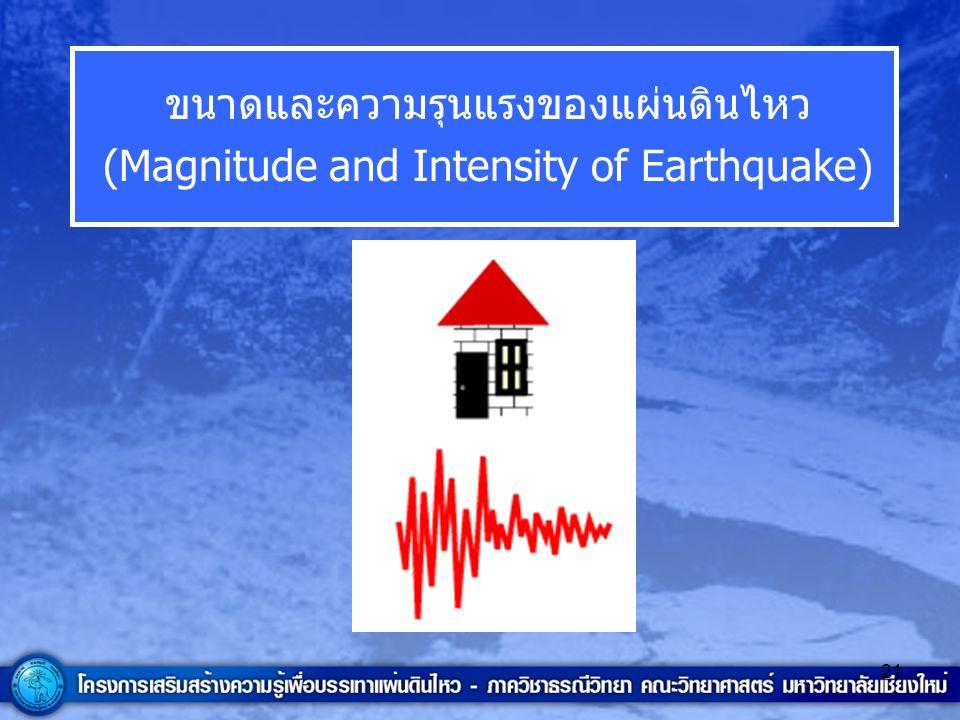 ขนาดและความรุนแรงของแผ่นดินไหว (Magnitude and Intensity of Earthquake)