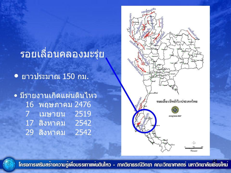 รอยเลื่อนคลองมะรุ่ย ยาวประมาณ 150 กม. มีรายงานเกิดแผ่นดินไหว