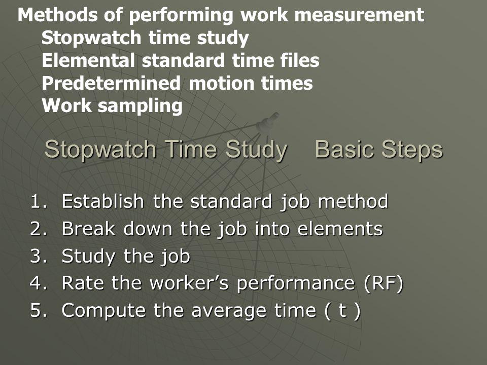 Stopwatch Time Study Basic Steps