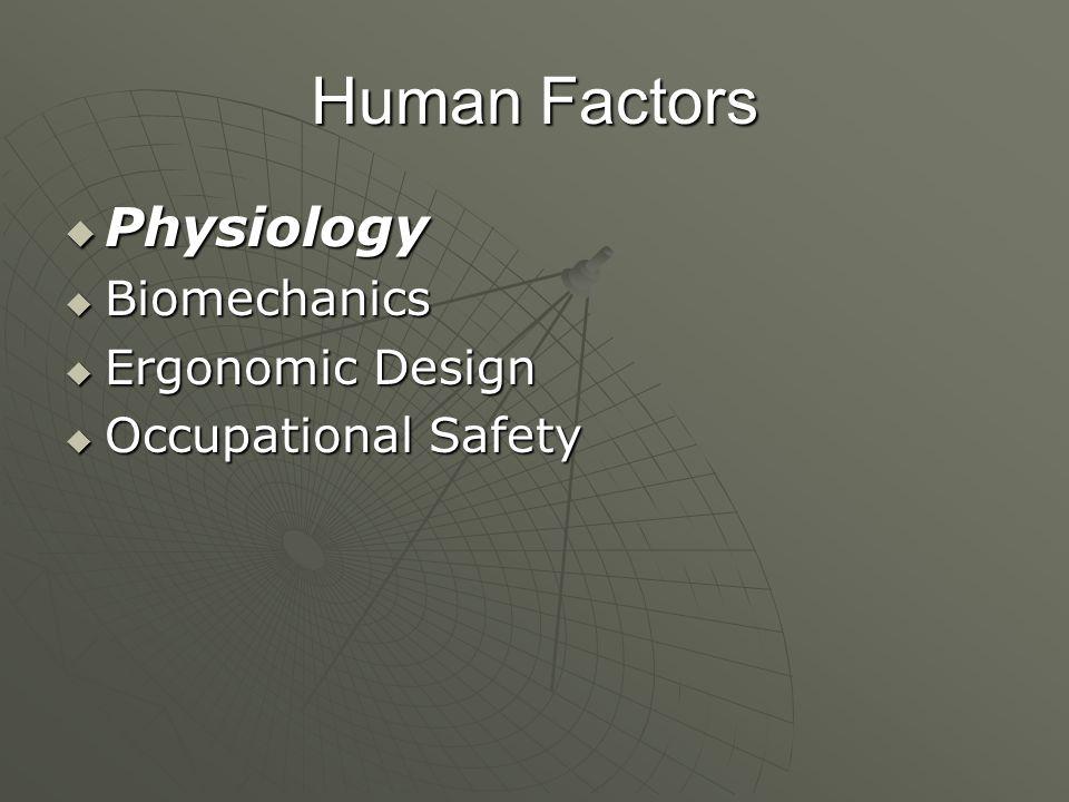 Human Factors Physiology Biomechanics Ergonomic Design
