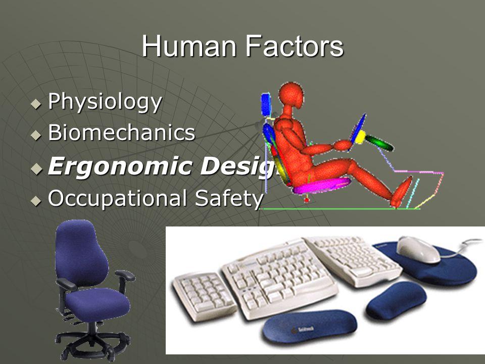 Human Factors Ergonomic Design Physiology Biomechanics