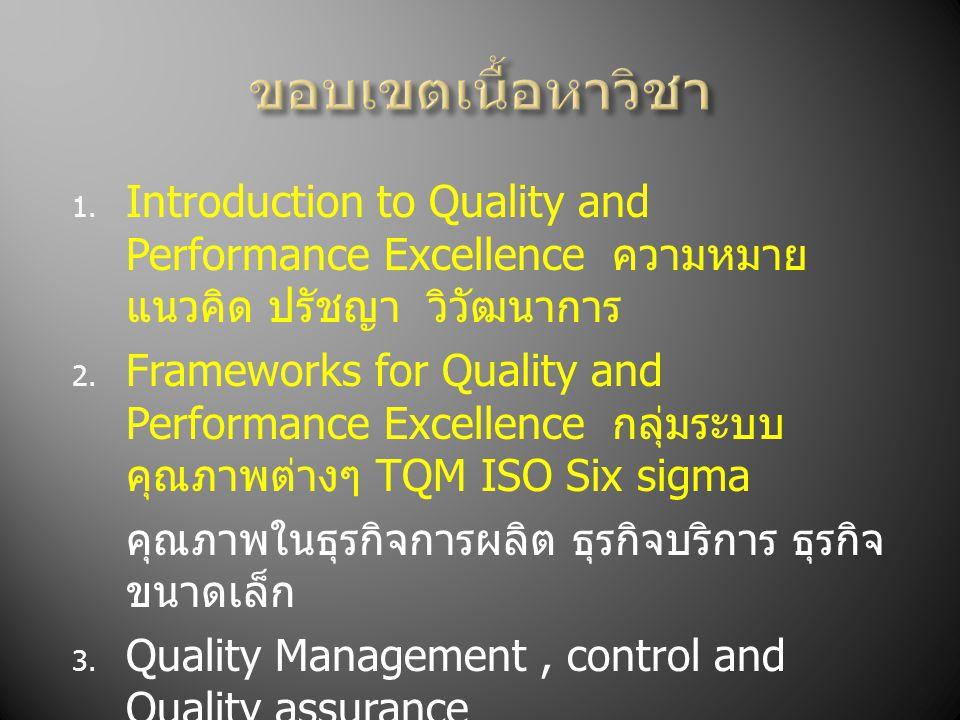 ขอบเขตเนื้อหาวิชา Introduction to Quality and Performance Excellence ความหมาย แนวคิด ปรัชญา วิวัฒนาการ.