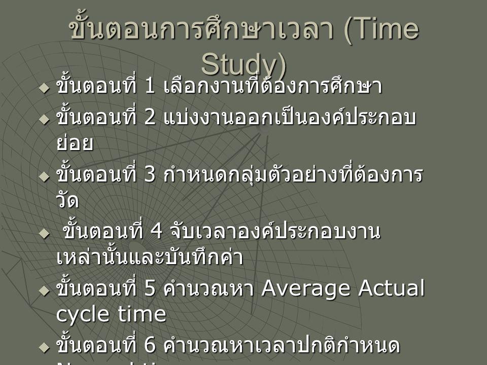 ขั้นตอนการศึกษาเวลา (Time Study)