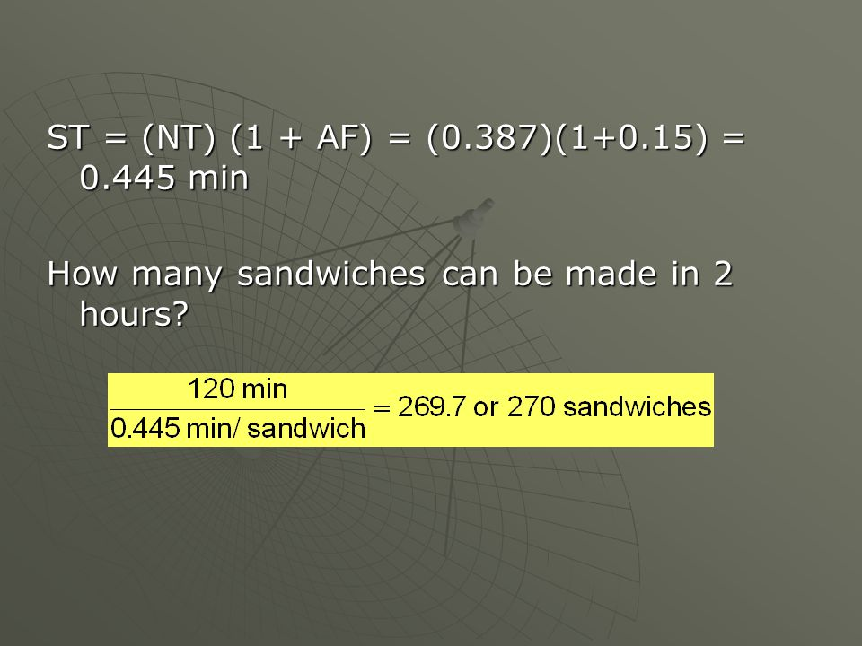 ST = (NT) (1 + AF) = (0.387)(1+0.15) = 0.445 min