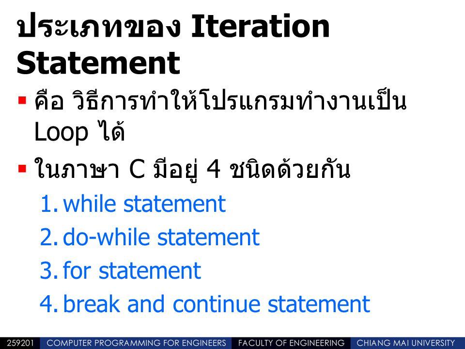 ประเภทของ Iteration Statement