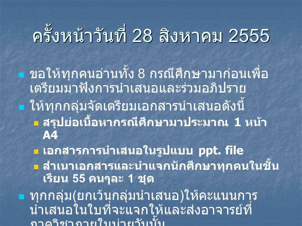 ครั้งหน้าวันที่ 28 สิงหาคม 2555
